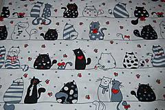 Textil - metráž zaľúbené mačky - 12473007_