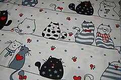 Textil - metráž zaľúbené mačky - 12473011_