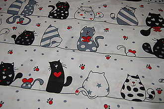 Textil - metráž zaľúbené mačky - 12473006_