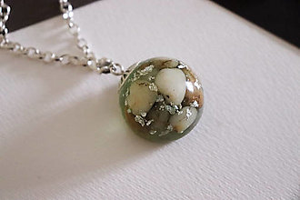 Náhrdelníky - Neoli - pologuľa náhrdelník - zelený - 12473394_