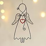 Dekorácie - anjelik so srdiečkom 12cm - 12476155_