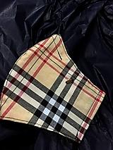 """Rúška - Dámske rúško vzor """"Burberry"""" so striebornou vložkou a drótikom na nos. - 12475417_"""