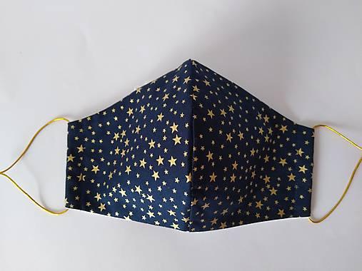 Dizajnové rúško hviezdičky zlaté tvarované dvojvrstvové