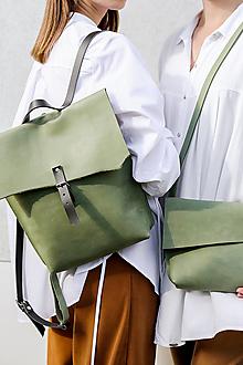 Batohy - kožený batoh_zelený_craft - 12476012_
