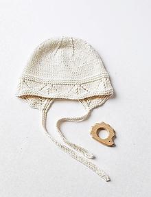 Detské čiapky - Čepček pre bábätko - prírodná - 12476553_