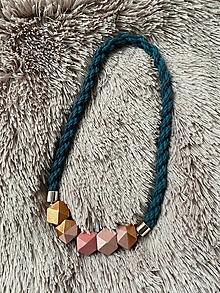 Náhrdelníky - Petrolejový náhrdelník s asymetrickými korálky - 12474174_
