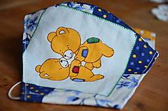 Detské doplnky - Detské rúško na tvár (Modrá macko, tanec) - 12476735_