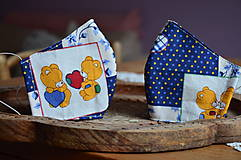 Detské doplnky - Detské rúško na tvár (Modrá macko, tanec) - 12476899_