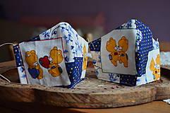 Detské doplnky - Detské rúško na tvár (Modrá macko, tanec) - 12476900_