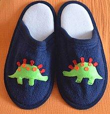 Obuv - Papučky-stegosaurus (modrá) - 12474843_
