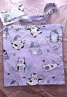 Nákupné tašky - Bavlnený set nákupnej tašky a rúška - 12478664_