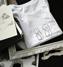 Tričká - Biele dámske tričko 2xTorzo - 12480106_