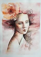Obrazy - Dáma s ružou - 12481195_