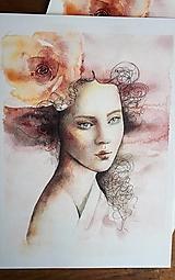 Obrazy - Dáma s ružou - kópia - 12481275_