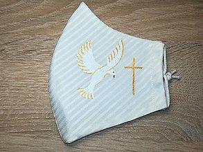 Rúška - Detské rúško Holubica zlatá z antibakteriálnej bavlny - 12483369_