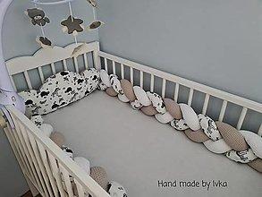 Detské doplnky - AKCIA : Súprava : mantinel - vrkoč / 300cm/ + poduška obláčik  /60cm/ - 12480458_