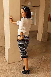 Sukne - Dámska sukňa Kohutia stopa, OEKO-TEX® - čierno biela - 12481505_