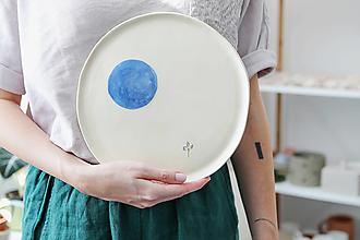 Nádoby - keramický veľký tanier čučoriedka - 12481819_