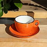Nádoby - Šálka na cappuccino s podšálkou oranžová - 12479572_