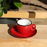 Nádoby - Šálka na espresso s podšálkou červená - 12479575_