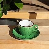 Nádoby - Šálka na espresso s podšálkou tmavozelená - 12479591_
