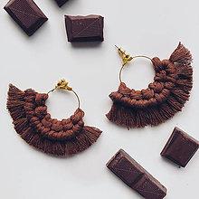 Náušnice - Makramé náušnice BOHYŇA čokoláda - 12479398_