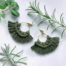 Náušnice - Makramé náušnice BOHYŇA oliva - 12479688_