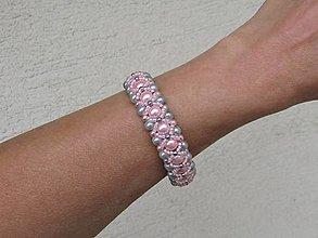 Náramky - Ružovo sivý náramok - 12479498_