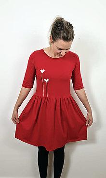 Šaty - Šaty volánový strih M03 červená, srdiečka - 12484044_