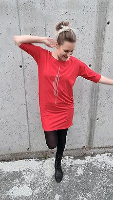 Šaty - Šaty rovný strih M15 - červené, biela II - 12484058_