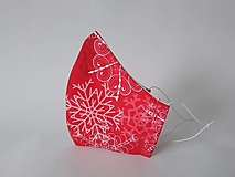 Rúška - Dizajnové rúško vločky červené prémiová bavlna antibakteriálne s časticami striebra dvojvrstvové tvarované (Dámske antibakteriálne vnútro) - 12487462_