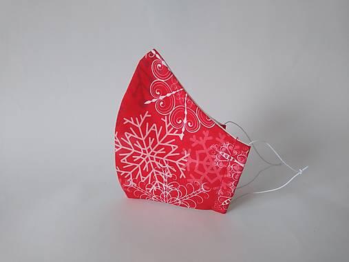 Dizajnové rúško vločky červené prémiová bavlna antibakteriálne s časticami striebra dvojvrstvové tvarované