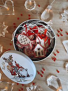 Dekorácie - Drevené vianočné ozdoby - Slovensko, červená folklórna kolekcia 2 - 12486386_