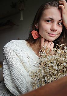 """Náušnice - makramé náušnice """"listy"""" (Terakota) - 12485456_"""