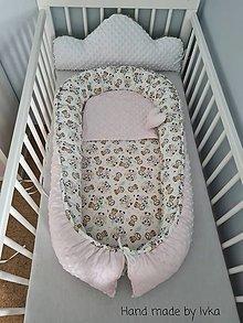 Textil - Hniezdo pre bábätko - pudrová  ružová  minky / 100% bavlna - 12485199_
