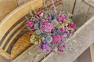 Dekorácie - Romantická kytica s pivonkami (sušená) - 12486078_