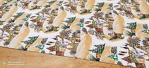 Textil - Bavlnená látka - Vianočná dedinka - cena za 10 cm - 12486042_