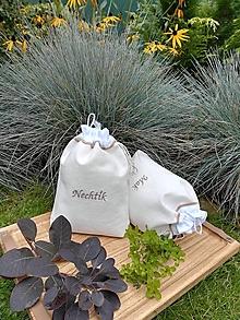 Úžitkový textil - Ľanové vrecúška na bylinky, huby, sušené ovocie...... - 12485915_