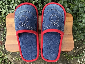Obuv - Riflové papuče s vreckom a červeným lemom - 12484962_