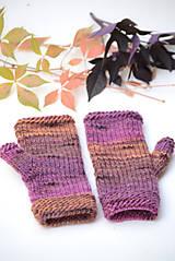 Rukavice - Dámske rukavice CATHY, hnedo-fialové, 100% merino - 12485372_
