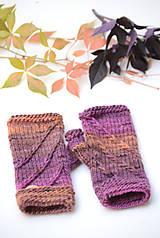 Rukavice - Dámske rukavice CATHY, hnedo-fialové, 100% merino - 12485373_