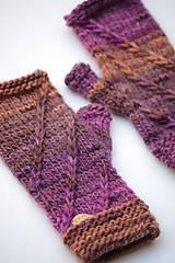 Rukavice - Dámske rukavice CATHY, hnedo-fialové, 100% merino - 12485374_