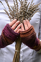 Rukavice - Dámske rukavice CATHY, hnedo-fialové, 100% merino - 12485375_