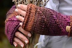 Rukavice - Dámske rukavice CATHY, hnedo-fialové, 100% merino - 12485376_