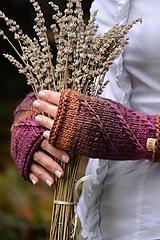 Rukavice - Dámske rukavice CATHY, hnedo-fialové, 100% merino - 12485421_