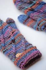 Rukavice - Dámske rukavice CATHY, modro-oranžové, 100% merino - 12485652_