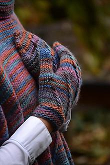 Rukavice - Dámske rukavice CATHY, modro-oranžové, 100% merino - 12485655_