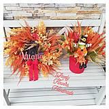 Dekorácie - Jesenny veniec a dekorka z vresu v oranzovej farbe - 12486844_
