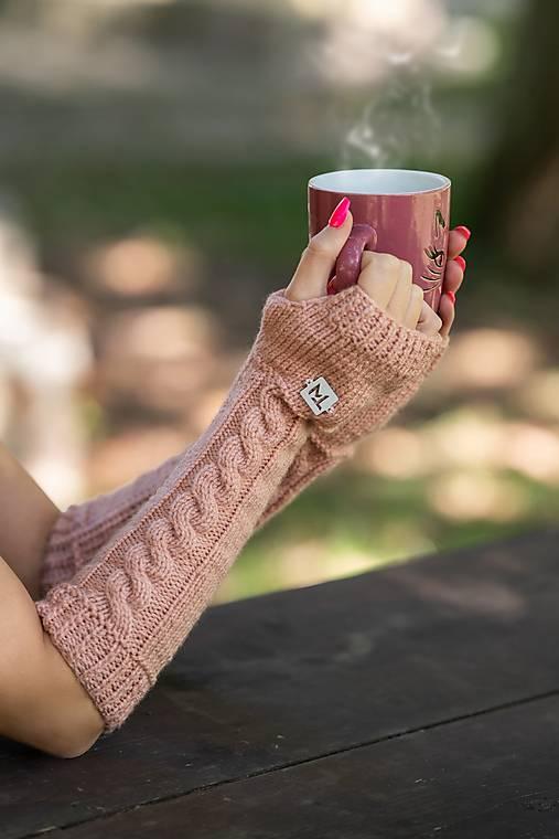 Rukavice - Pletené bezprstové rukavice v ružovej farbe - 12487798_