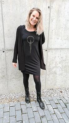 Šaty - Šaty klasický strih M14 - čierne, zlatá OIII, veľkosť S - 12484081_
